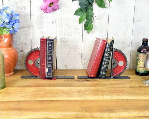Industrial Steel Gear Wheel Book Ends